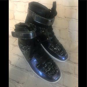 Nine West Metallic Blue Hightop Fashion Sneakers